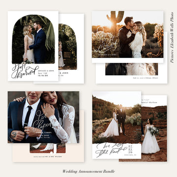 Wedding Announcement Photocard Bundle | Happily Married