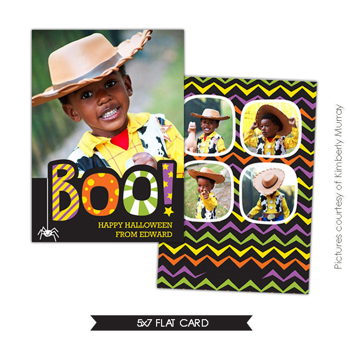 Halloween Photocard Template | Happy Boo