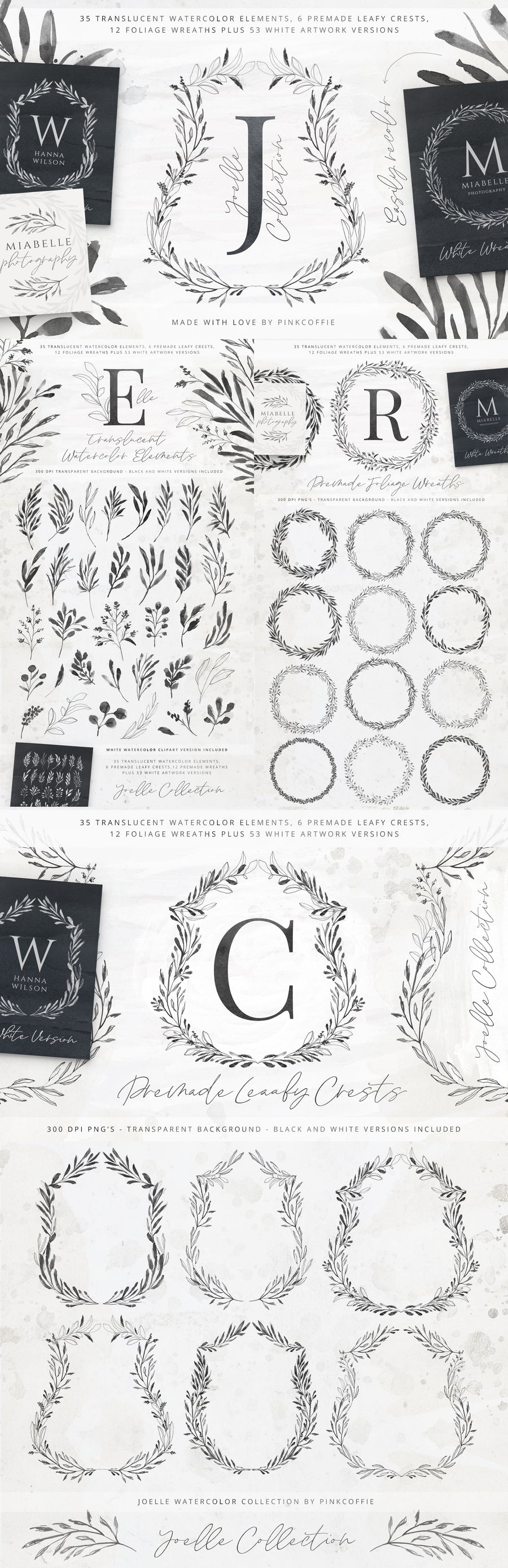 Joelle Watercolor Collection - Premade Foliage Wreaths
