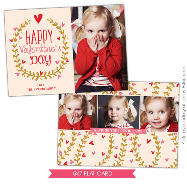Valentine Photocard Template | Kisses garden