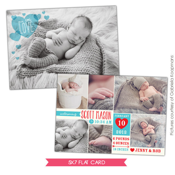 Valentine Birth Announcement template | Little Angel Boy