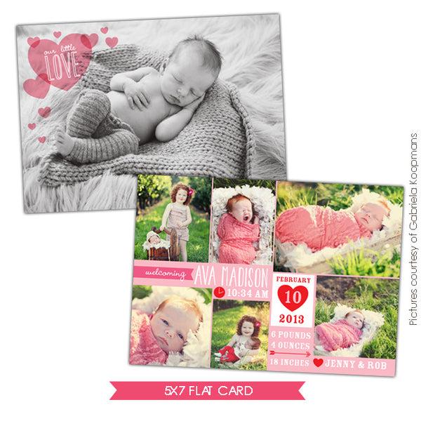 Valentine Birth Announcement template | Little Angel Girl