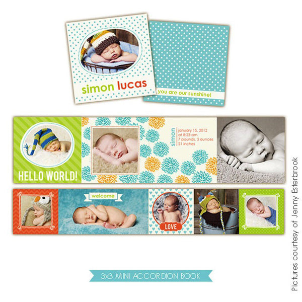 Baby accordion mini 3x3 | Colorful baby boy