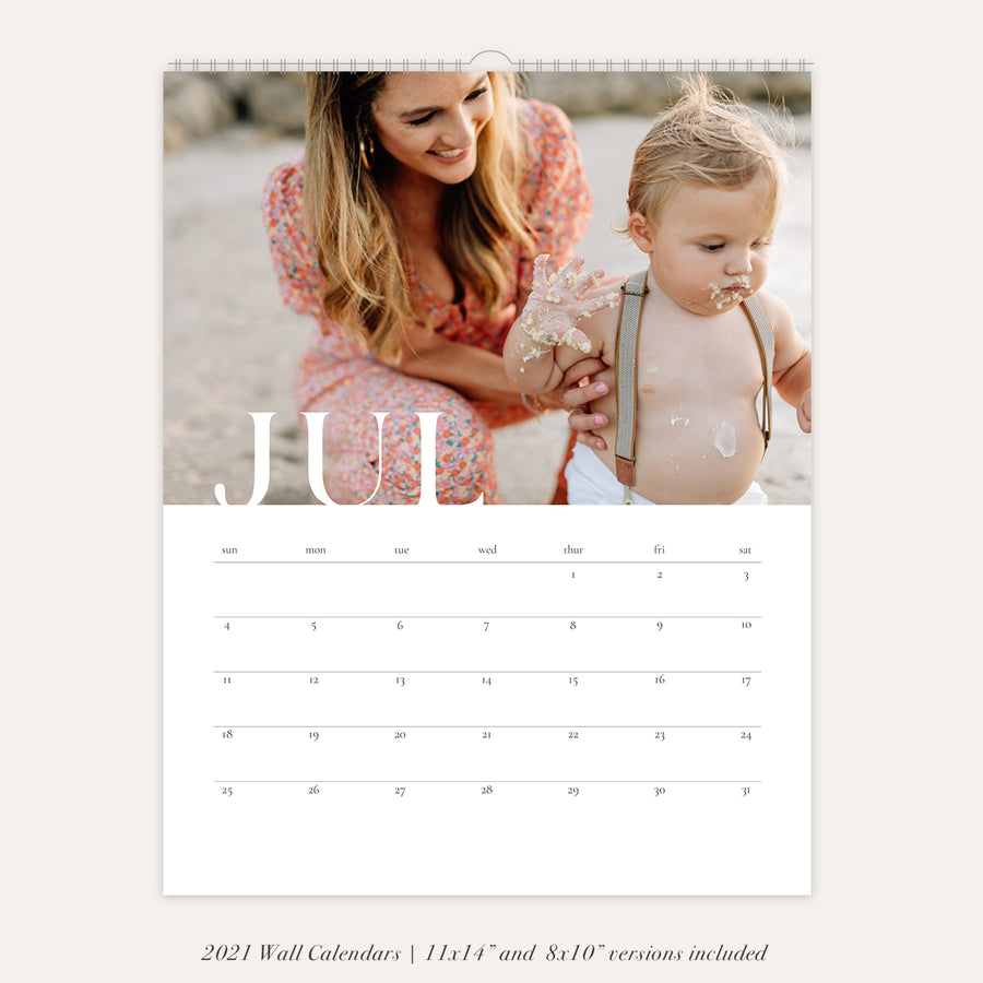 2021 Wall Photo Calendar 11x14 and 8.5x11 | Clean
