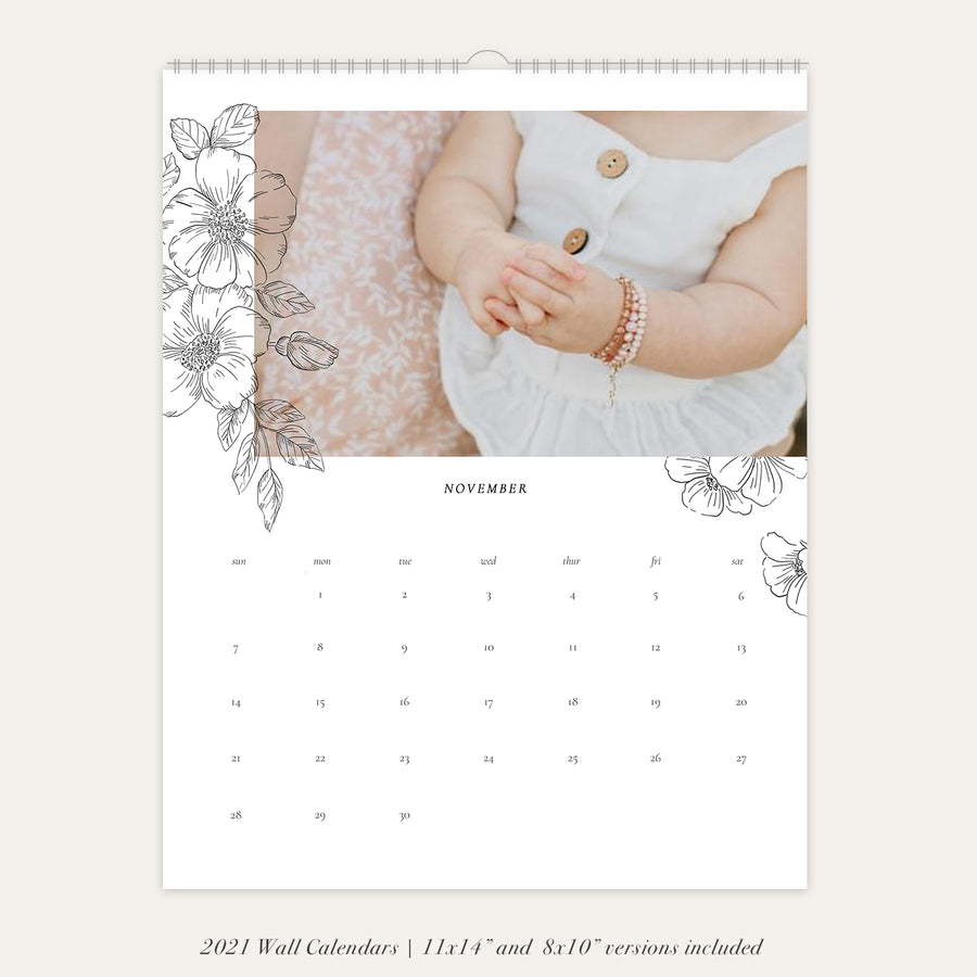2021 Wall Photo Calendar 11x14 and 8.5x11 | Romantic