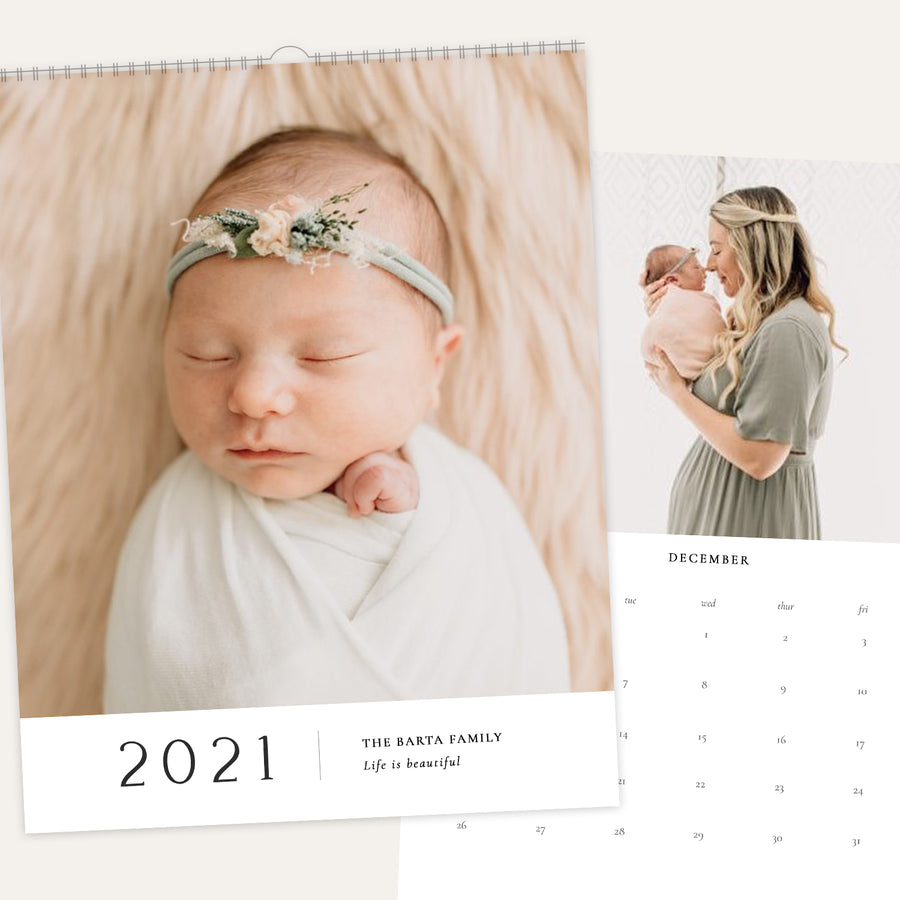 2021 Wall Photo Calendar 11x14 and 8.5x11 | Minimalistic