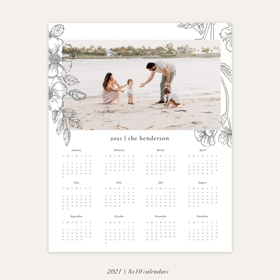 2021 Photo Calendar 8x10 | Romantic Florals
