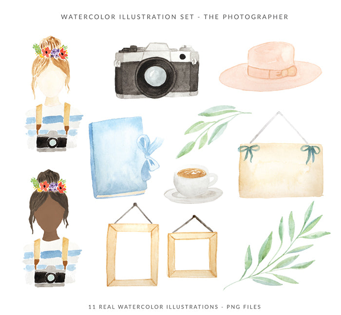 Watercolor Illustrations Pack - The photographer