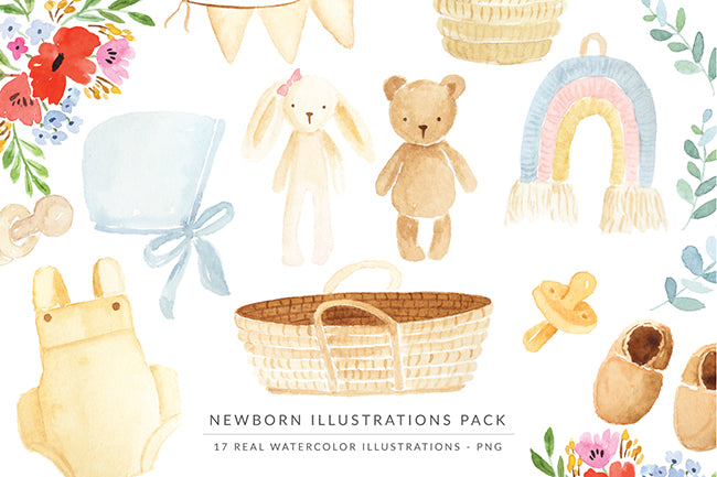Watercolor Illustrations Pack - The Newborn