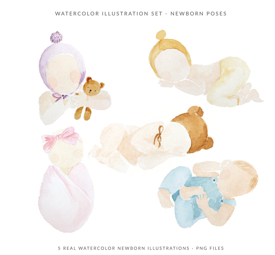 Watercolor Illustrations Pack - Newborn Pose