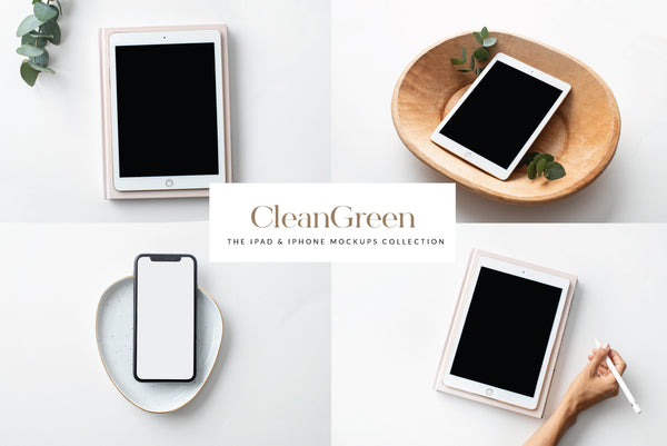 CleanGreen Ipad & Iphone Mockups Collection | 8 Stock Images