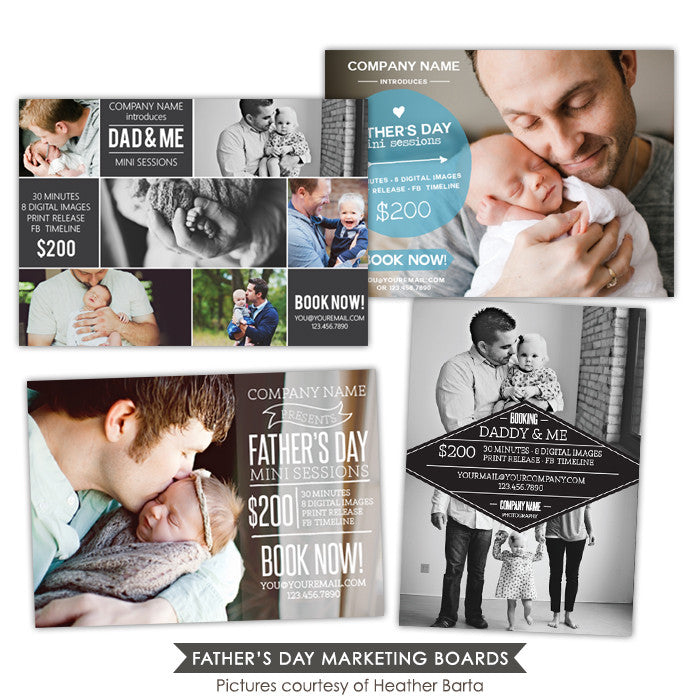 Photography Marketing boards bundle | Father's day moments
