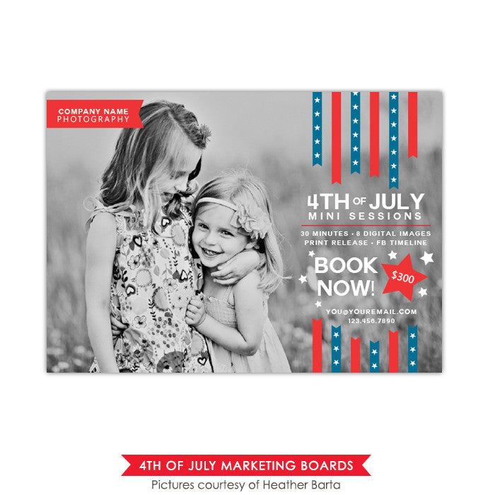 4th of July Marketing board | Red ribbons