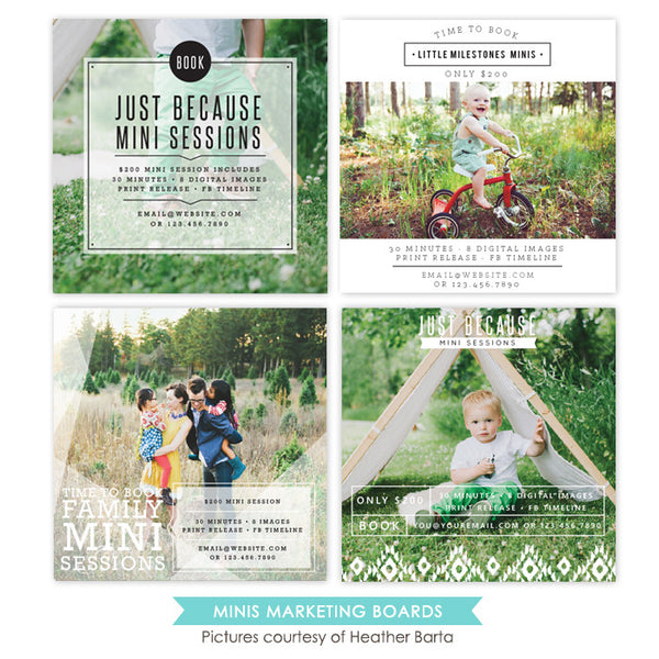 Photography Marketing boards bundle | Square Minis