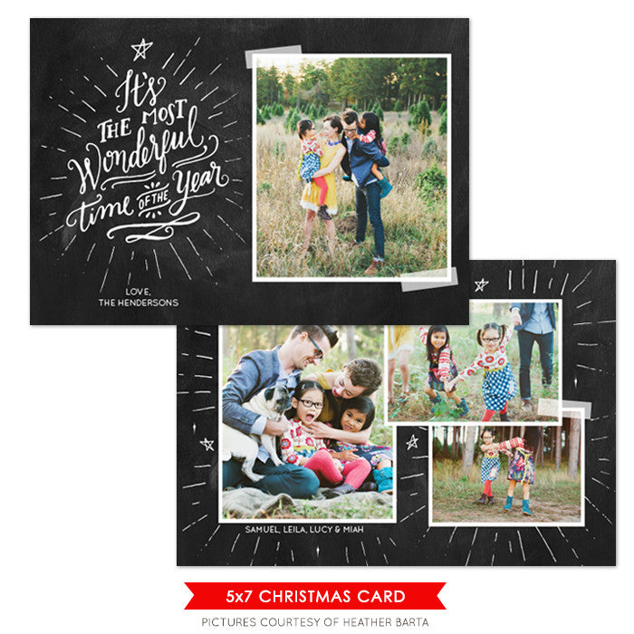 Christmas Photocard Template | The Most Wonderful
