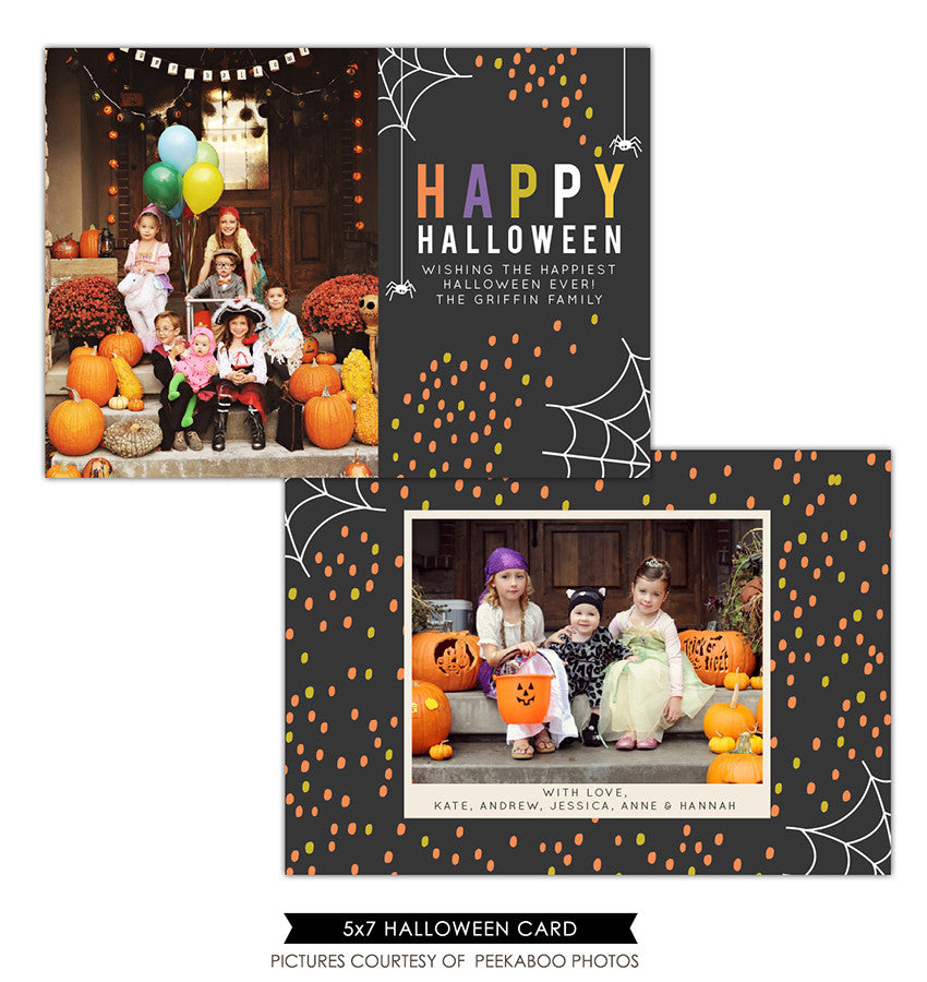Halloween Photocard Template | Cute spiders