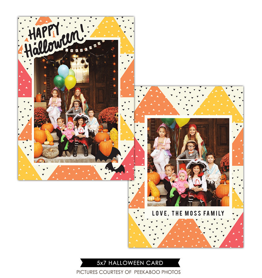 Halloween Photocard Template | Happy bats