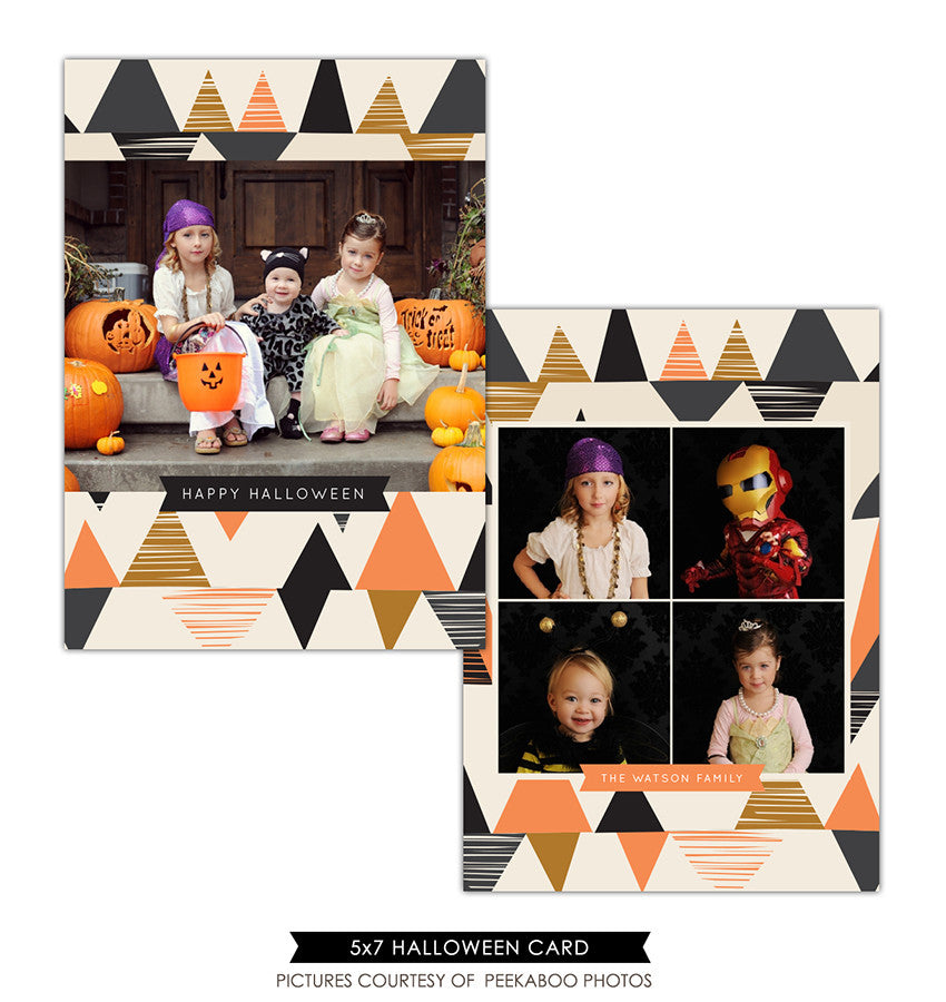 Halloween Photocard Template | Orange and black