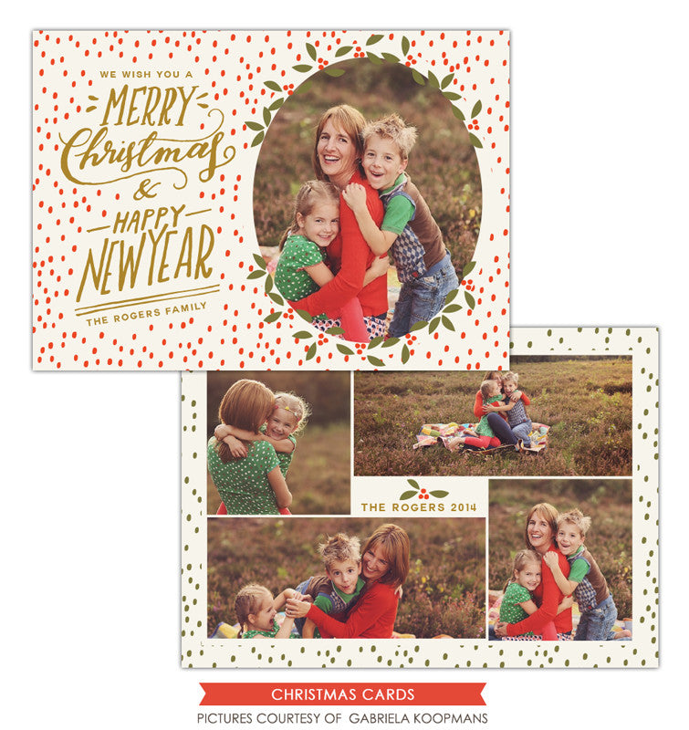 Christmas Photocard Template | Happy Merry