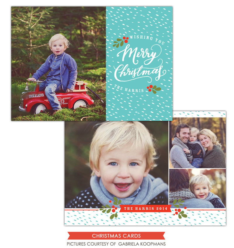 Christmas Photocard Template | Love wishes
