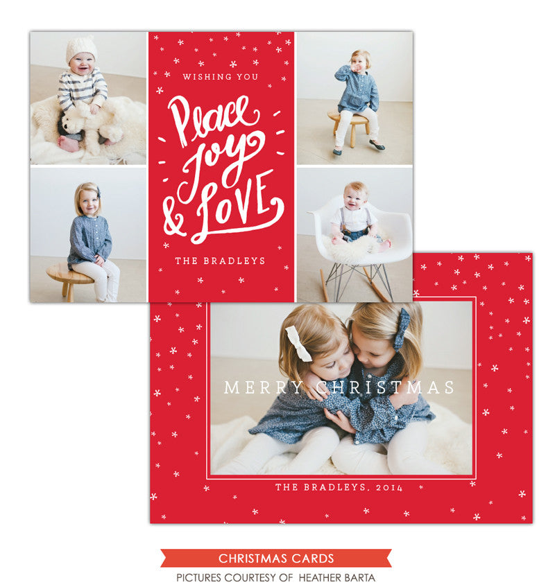 Christmas Photocard Template | Peace, Joy & Love