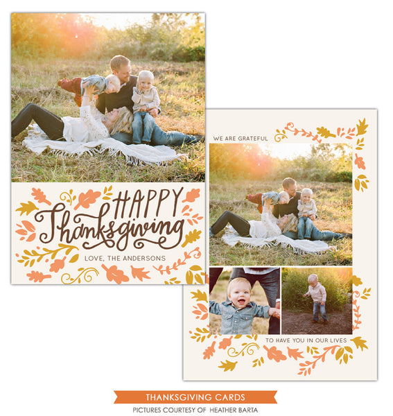 Thanksgiving Card Template | Leaves and wind