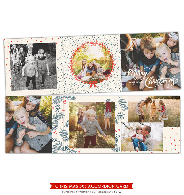 Holiday accordion card 5x5 | Red Snow trifolded