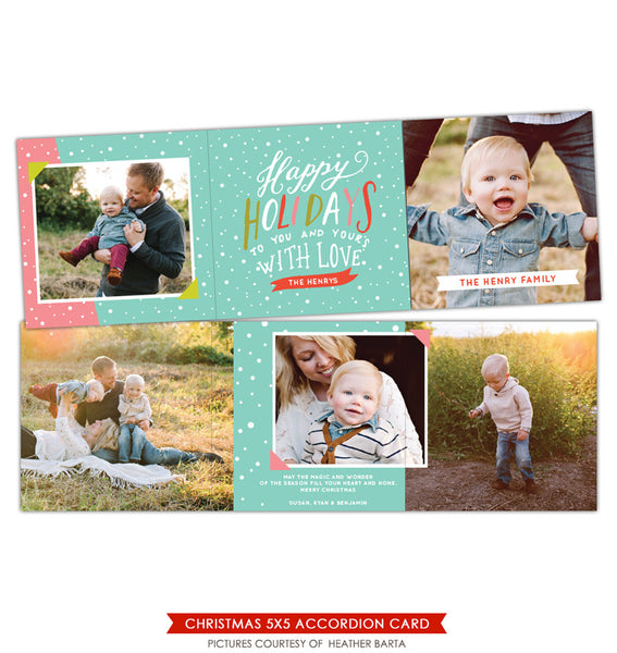 Holiday accordion card 5x5 | Colorful smiles trifolded