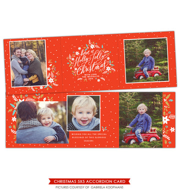 Holiday accordion card 5x5 | Jolly Mini trifolded