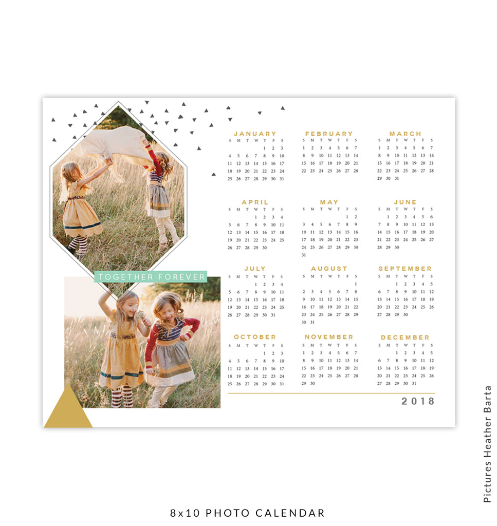 8x10 Calendar 2018 template | Together forever