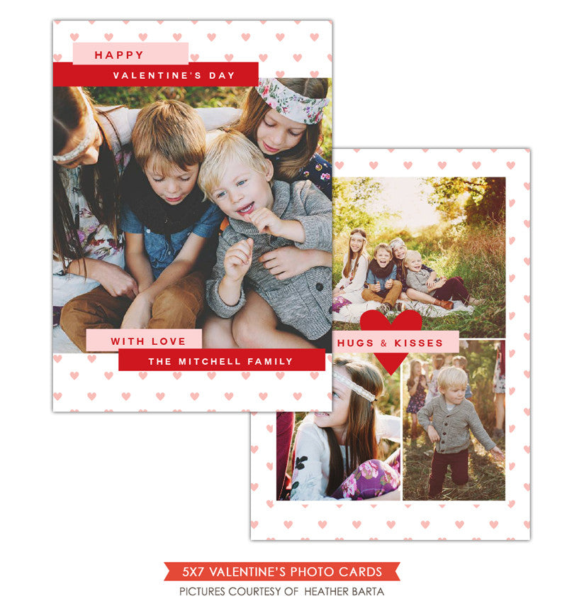 Valentine Photocard Template | Pink hearts