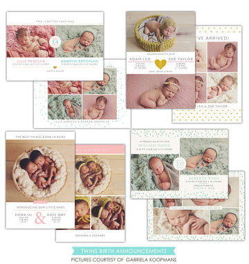 Twins Birth Announcements bundle | Little blessings