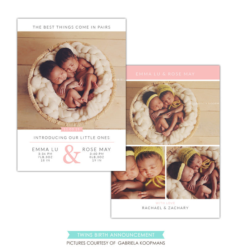 Twins Birth Announcement | Perfect pair