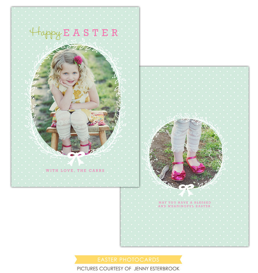 Easter photo card | Pink loves green