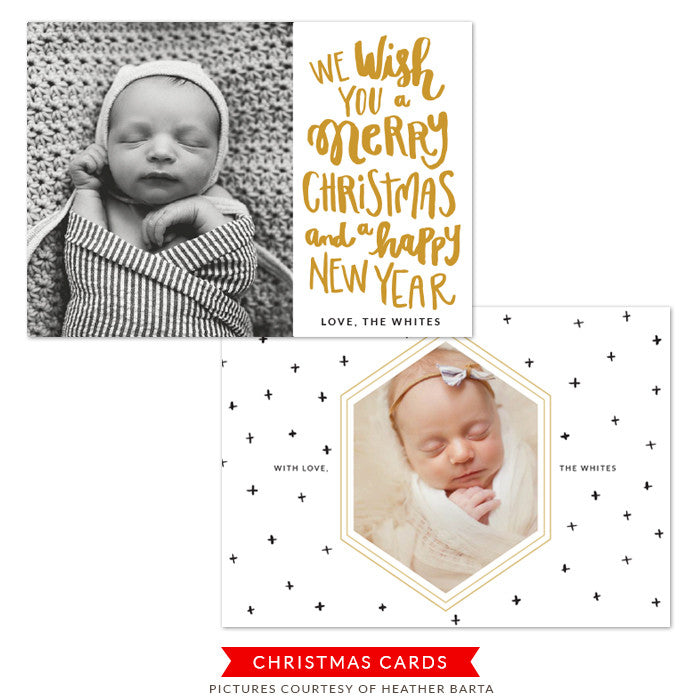 Christmas Photocard Template | Gold and cross