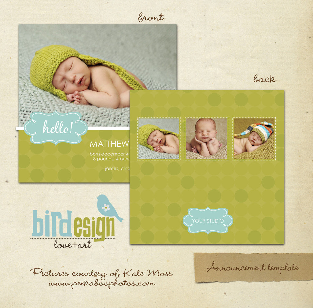 Birth Announcement | Green circles