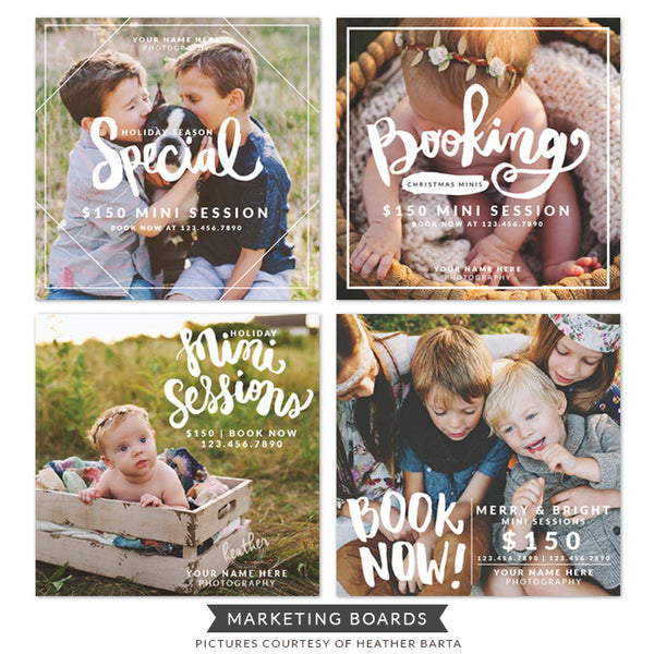 Photography Marketing boards bundle | Modern lettering