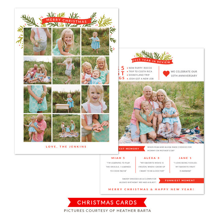 5x7 Year in review card - Christmas card template | Sweetest Memory
