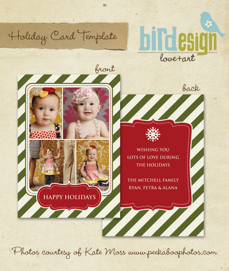 Holiday Photocard Template | Vintage happy holidays