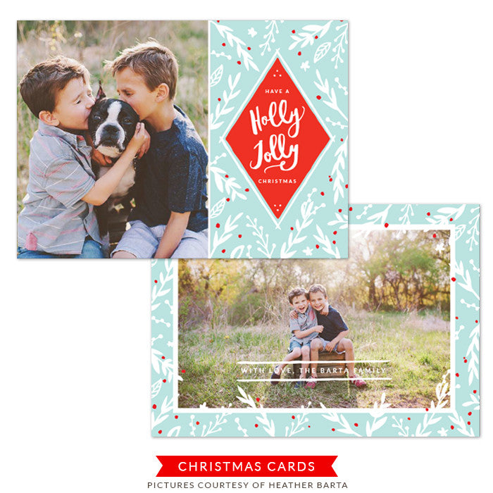 Christmas Photocard Template | Blue snow