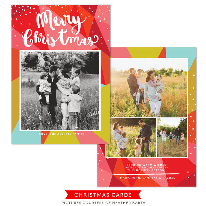 Christmas Photocard Template | Colorful diamond