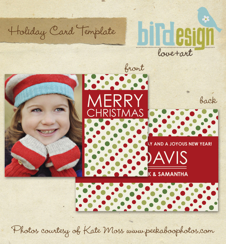 Holiday Photocard Template | Christmas dots