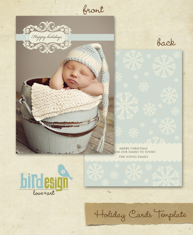 Holiday Photocard Template | Snowflakes