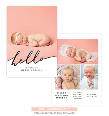 Birth Announcement | Calligraphy hello