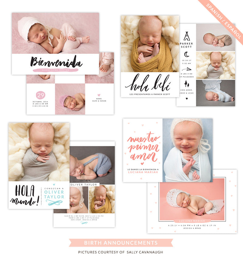 Birth Announcements bundle | Spanish Collection