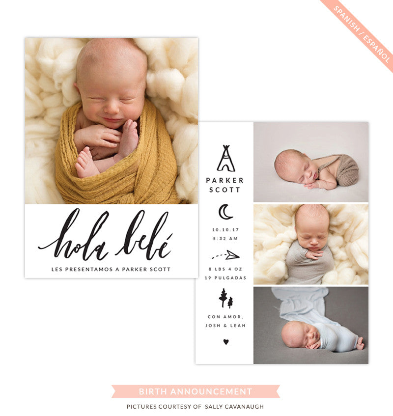 Birth Announcement - Spanish | Hola bebé