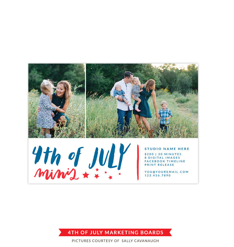 4th of July Marketing board | Blue brushes