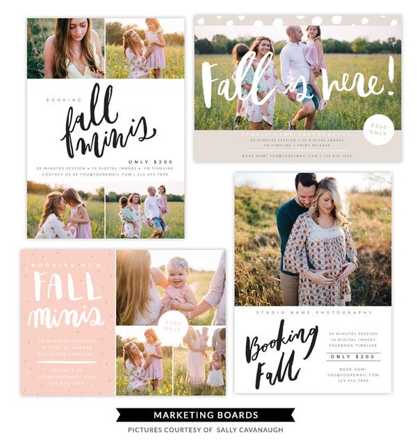 Fall Minis Marketing boards bundle | Colored Days
