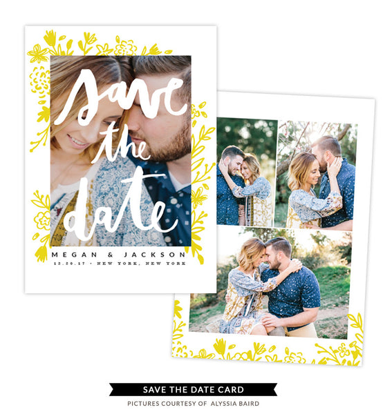 Save the Date card | Bride kiss