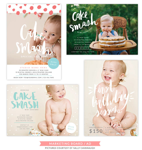 Cake Smash Marketing Board Bundle | Smash and Splash